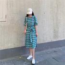 VK精品服飾 韓國風初戀復古格紋時尚短袖洋裝