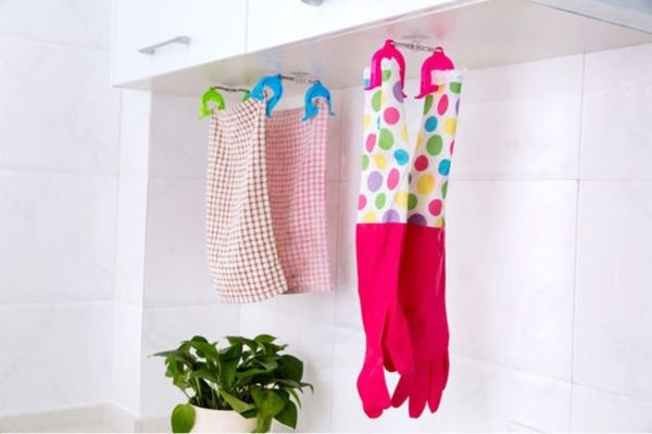 廚房吸盤海綿多功能抹布架 顏色隨機 (2入)