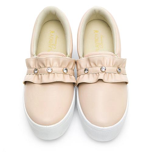 PLAYBOY 俏甜浪漫 荷葉邊厚底休閒鞋-米(Y5707)