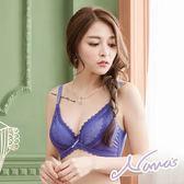 【露娜斯】女人新秘密。波紋蕾絲深V爆乳竹炭透氣機能內衣【紫】台灣製U27827