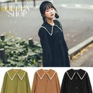 Queen Shop【01023677】花邊領片設計絨感長袖襯衫 三色售*現+預*
