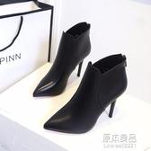 鞋子女新款高跟細跟女靴尖頭短靴後拉錬舒適馬丁靴女鞋單靴 原本良品