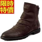 短靴機車靴質感俐落-細緻真皮革尖頭潮流時尚男牛仔靴2色65h6【巴黎精品】