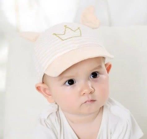 帽子 現貨 條文皇冠遮陽帽  嬰兒 寶寶 女童  太陽帽 防曬帽 軟帽緣  棒球帽【B704】