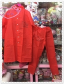 ♥小花花日本精品♥ Hello Kitty 兒童多功能兩用紅色雨衣 /兩件式雨衣 紅色側姿 55516709(M)