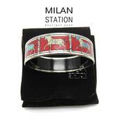 【台中米蘭站】HERMES 銀框 紅底小馬 陶瓷 手環