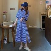 夏季2020新款時尚條紋短袖T恤開叉長裙顯瘦氣質簡約連身裙女神范