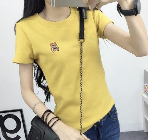 EASON SHOP(GU5043)小熊刺繡圓領短袖T恤內搭衫女上衣服素色白棉T春夏裝韓版彈力貼身可愛卡通閨蜜裝