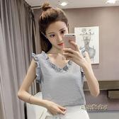 夏裝新款韓版寬鬆小清新氣質木耳邊背心上衣小衫無袖V領雪紡衫女「時尚彩虹屋」