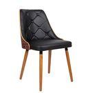 【森可家居】摩爾胡桃實木腳黑皮餐椅 8JF38338 復古 英倫 工業風 設計師款