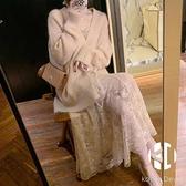 毛衣蕾絲連身裙女神兩件套裝【Kacey Devlin】