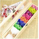 七彩色粉藍紫色滿天星乾花禮盒木盒創意禮物送女友女生節花束真花(主圖款)