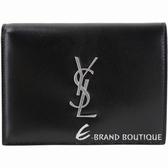 YSL Saint Laurent MONOGRAM 銀字小牛皮釦式中夾(黑色) 1930069-01