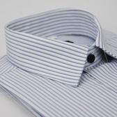 【金‧安德森】藍色條紋黑釦窄版短袖襯衫
