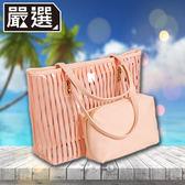 【嚴選】夏日戲水潮流透明條紋防水子母側背沙灘包(粉)