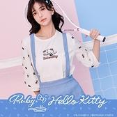 上衣 Hello Kitty x Ruby 聯名款.公主袖刺繡短袖上衣-Ruby s 露比午茶