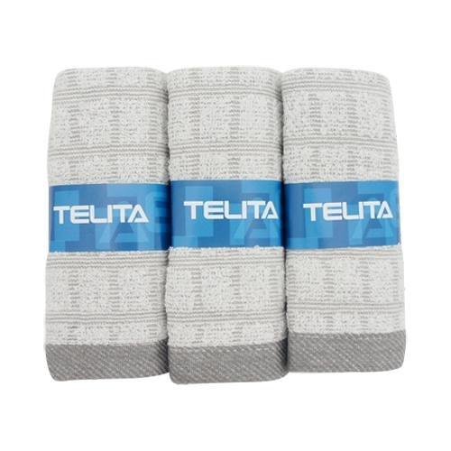 TELITA 竹炭方格毛巾-3入【愛買】