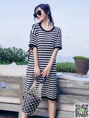 夏裝新款韓范針織條紋小心機上衣服中長款寬鬆bf風短袖t恤女 CY潮流站
