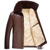 反季加絨加厚大毛領皮衣男冬裝中年爸爸裝外套中老年冬季PU皮夾克   原本良品