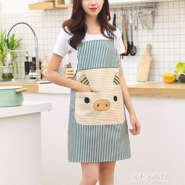 圍裙 廚房擦手圍裙防水防油做飯罩衣時尚家用男女布藝 朵拉朵衣櫥