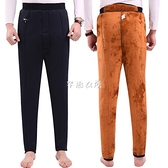 保暖褲 冬季男士加厚保暖棉褲中年高腰打底三層駝絨棉褲中老年人寬鬆棉褲 快速出貨