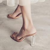 高跟鞋 透明涼鞋女夏百搭網紅粗跟涼拖鞋女外穿水晶高跟鞋仙女風 莎瓦迪卡