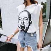 怪味少女生帥氣hiphop嘻哈t恤籃球衣上衣服bf風夏外穿酷無袖背心 流行花園