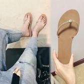 雙12盛宴 人字拖女夏時尚外穿新款歐美夾趾水鑽沙灘鞋平底夾腳涼拖鞋潮