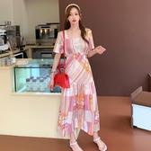 依米迦 洋裝 夏裝新款韓版氣質修身長裙小清新印花格子時尚連身裙