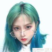 假髮 網紅假髮女空氣劉海短直髮時尚綠色漸變藍圓臉中長直髮自然鎖骨髮 居優佳品