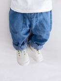 牛仔褲秋季薄款男童哈倫褲韓版女童可開襠褲