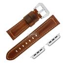 Apple Watch / 38.40.42.44mm / 蘋果手錶替用錶帶 蘋果錶帶 復刻百搭 真皮錶帶 黃褐色 #829-02-YWS