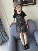 女童連身裙 夏裝 新款裙子童裝中大童夏季牛仔裙兒童短袖背帶裙 范思蓮恩
