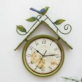 美式田園創意鳥屋掛表 家用簡約中歐式客廳臥室走廊復古石英掛鐘 可然精品