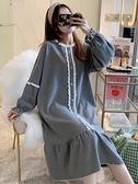 韓版睡裙女春秋冬季甜美公主風長袖睡衣薄款簡約家居服夏天長裙 韓國時尚週 免運