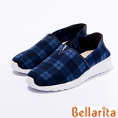 2016秋冬新品上市bellarita.學院格紋布休閒鞋(藍色)