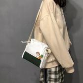 束口袋 2019新款小清新帆布袋ins中包斜挎韓版女學生森系文藝抽繩單肩包 鹿角巷