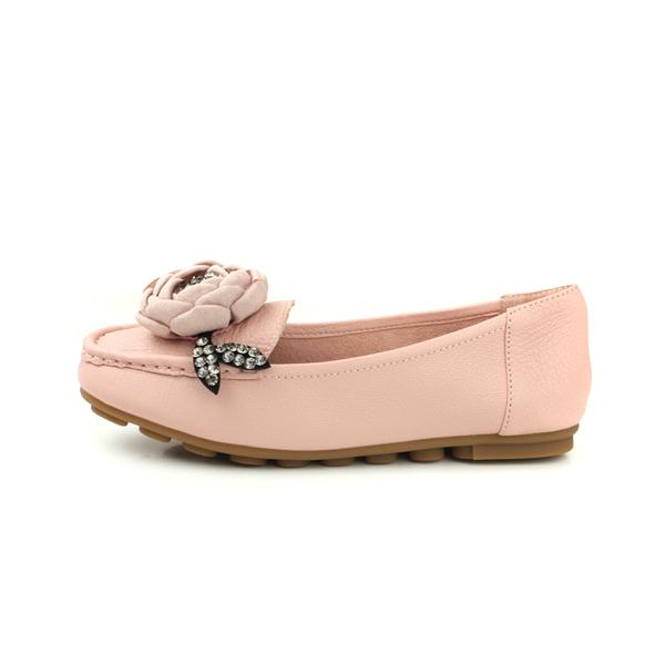 HUMAN PEACE 懶人鞋 包鞋 牛皮 舒適 花朵 粉紅色 女鞋 no331