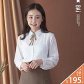 襯衫 千鳥格紋織帶蝶結別針排釦上衣-BAi白媽媽【301887】