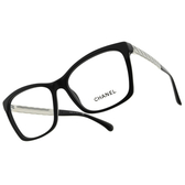 CHANEL 光學眼鏡 CN3356 C501 (黑-銀) 歐美 格紋 方框 眼鏡框 小香 香奈兒 # 金橘眼鏡