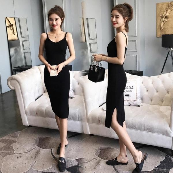 吊帶洋裝 吊帶針織連身裙流行裙子2020新款女裝春夏性感氣質顯瘦打底小黑裙 叮噹百貨