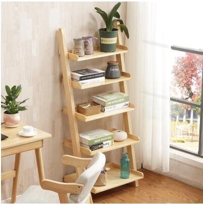 北歐書房實木書架創意簡約落地靠牆梯形儲物置物架