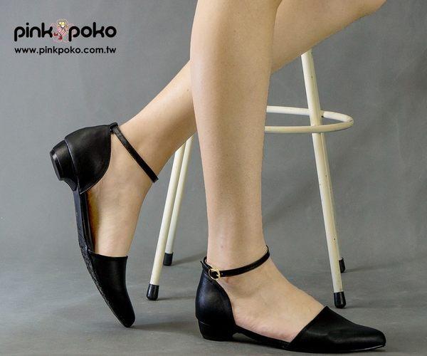 包鞋☆PINKPOKO粉紅波可☆氣質繞腳踝平底尖頭包鞋-2色#1133