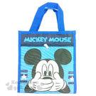 〔小禮堂〕迪士尼 米奇 帆布直式手提袋《藍.大臉.摀嘴》 4713549-00168