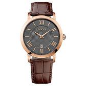 Hugo Boss 羅馬復刻皮帶腕錶-咖