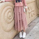 現貨 網紅風2019半身裙女裝韓版清新甜美蕾絲長款 蛋糕裙 半身百褶裙