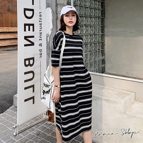 孕婦裝 MIMI別走【P52897】運動修飾款 休閒條紋寬版連身裙 長裙 洋裝