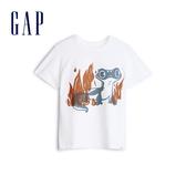 Gap男幼Gap x Disney 迪士尼系列冰雪奇緣棉質創意印花舒適圓領短袖T恤563722-光感亮白