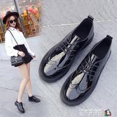 牛津鞋 皮鞋女夏新款小黑鞋女百搭英倫風女鞋子韓版學生復古小皮鞋女 魔方數碼館
