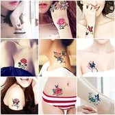 紋身貼 刺青 紋身貼女  防水持久 小清新 玫瑰花 蝴蝶 腳踝 鎖骨 仿真紋身貼紙